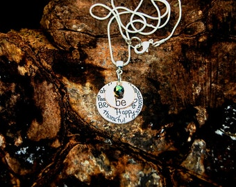 Last Minute Gift Affirmation Necklace, Positive Necklace Great Teacher Gift, Just Be Necklace Choose Your Crystals Valentines Christmas Gift