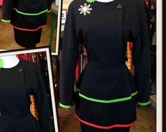 Vintage Black Dress with Green Orange Trim FREE SHIPPING
