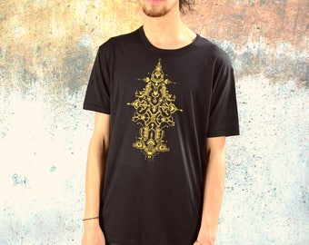 SHIPIBO Men Shirt . Black . Golden Print. organic . Yoga . Skater . alternative