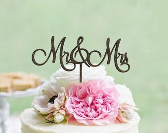 Rustic Mr & Mrs Cake Topper - Rustic Country Chic Wedding Cake Topper - Wedding Cake Toppers
