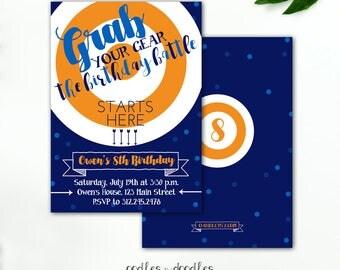 Dart Gun Birthday Invitation, Blue Orange Navy Bulls Eye, Battle Squirt Guns Dart Guns Boy's Birthday - Printable File or Printed Invitation