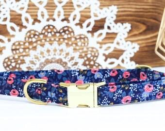 Floral Female Dog Collar, Girl Collar, Pink Floral, Navy Blue, Spring, Dog Lover Gift, Pet Collar, Puppy Collar, Girl
