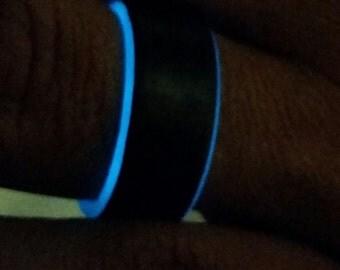 Carbon Fiber Glow Ring-Blue