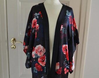 Black Fringe Rose Kimono