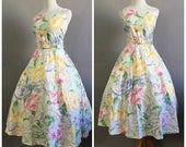Vintage 1980s does 1950s Dress Rose Floral Dress Cotton Sundress 80s Day Dress 1950s Tea Dress Rockabilly Garden Party Dress Size Medium