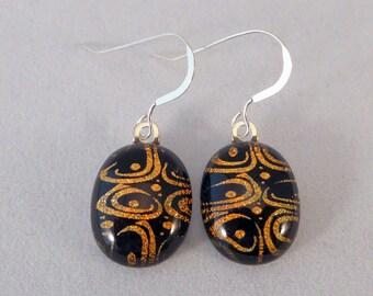 Orange and Black Dichroic Fused Glass Earrings, Fused Glass, Dangle, Fused Glass Earrings, Dichroic, Glass Earrings, Orange, Black