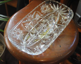 Divided Glass Dish/Vintage Divided Glass Relish Pickle Dish/Cut Glass/Vintage Serving/Buffet/Dinner Table/Candy Dish