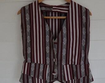SALE Vintage Womans Aztec Striped Vest