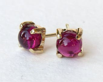 Tourmaline studs, 14k gold studs, tourmaline earrings, solid gold studs, october birthstone