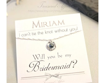 Bridesmaid Gift Sets, Will You Be My Bridesmaid, Bridesmaid Thank You Gifts, Bridesmaid Necklaces, Personalized Bridesmaid, Knot, Sterling