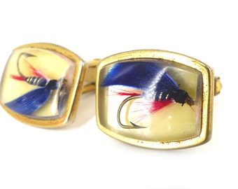 Collector set vintage Anson fly fishing hook cufflinks. Blue & red details, clear domed fronts with squared gold hardware.