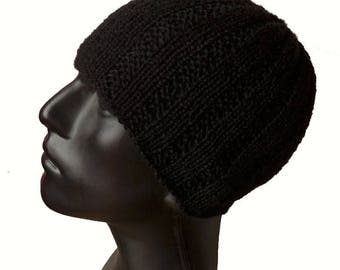 Mens Knit Hat Baby Alpaca/Men's Ribbed Beanie/Knit Hat Men/Black Knit Hat/Men Accessoires/Black Beanie/Knitted Hat