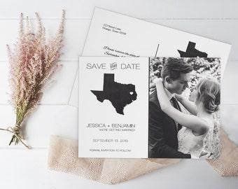 Chalkboard Texas Save the Date Photo Postcard Template, Texas State Map Photo Save the Date Postcard - Editable PDF Template - DIY You Print