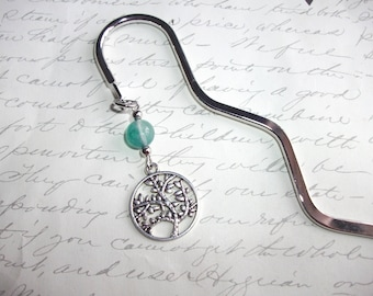 Tree of life bookmark with green agate stone