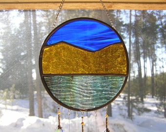 This is Amber Mountain Sun Catcher Stained Glass, Wind Chime.