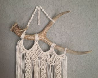 Macrame Wall Hanging on Deer Antler