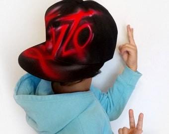 CUSTOM flat cap, GRAFFITI hand painted SNAPBACK hat, Custom airbrush name, initials, Custom snapback, girls snapback, boys snapback, Zyto