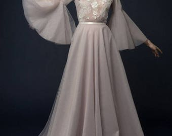 LILLA/ lavender tulle wedding dress with french lace top / Bohemian wedding dress hand embroidery long sleeves wedding dress tulle skirt