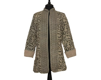 KANTHA JACKET - X Small - Long style - Size 8 - Olive green and stone. Reverse beige.