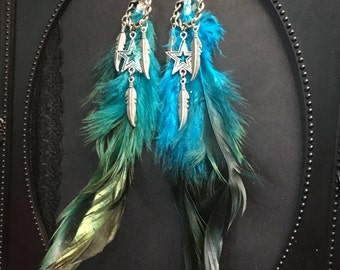Feather Earrings, Boho Feather Earrings, Feather Charm Earrings, Boho Earrings, Festival Jewelry, Feather Jewelry, Boho Gift, Feather Charm