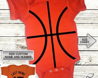 BasketBall Onesie - Infant Baby Personalized with Name and Number - Creeper - Bodysuit - Custom Jersey