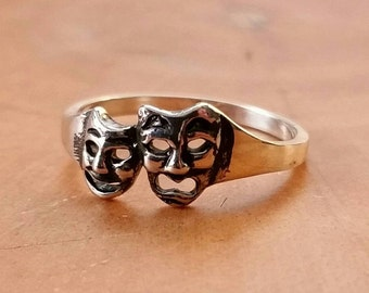 Sterling Silver Comedy and Tragedy Mask Rings FREE Gift Box FREE Shipping Codes Below Creative Theatre Troop Jewelry Drama Jewellery Cosplay