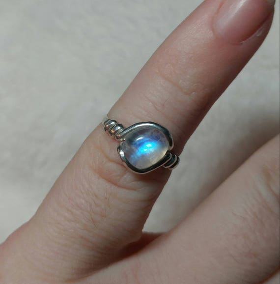 Rainbow Moonstone Ring | Sterling Silver Ring Sz 5 | Simple White Ring | June Birthstone Ring | Simple Stone Ring | Simple Moonstone Ring
