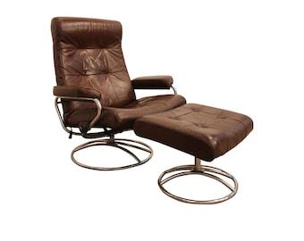 midcentury danish modern ekornes stressless recliner leather chrome lounge chair u0026 ottoman - Stressless Chair
