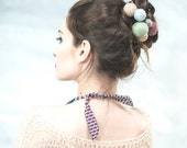 spring fashion - gift for her - romantic hair accessories - yarn ball hair pin - long hair style - unique hair accessories - pastel