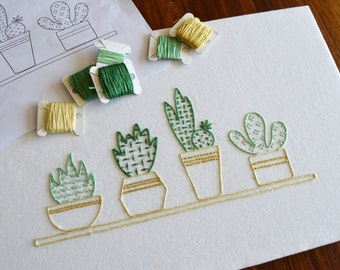 Succulents on a Sill hand embroidery pattern, embroidery pattern, modern embroidery PDF pattern, digital download