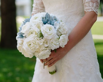 Succulent White Ranunculus Silk Wedding Bouquet