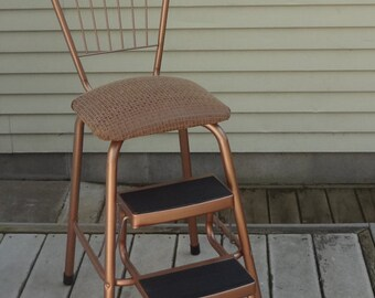 Vintage Mid Century Metal Kitchen Utility Combination Chair and Folding Two STEP STOOL