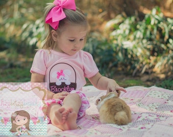 Easter White Bunny In Basket Girls Shirt Pink Bow Personalized Custom Name Embroidered Bodysuit