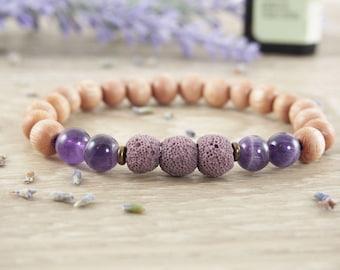 Essential Oil Diffuser Bracelet, Rosewood Bracelet, Amethyst Bracelet, Diffuser Jewelry, Aromatherapy Bracelet, Meditation Bracelet, Yoga
