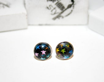 Glitter cats, balloons, stars, cupcakes, ear studs, earrings, silver,
