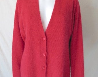 Vintage 80s/90s Angora Lambswool Sweater Cardigan by Casual Corner