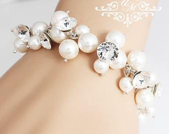 Wedding Jewelry Swarovski Pearl Crystal Cluster Bracelet Messy style Bridal Bracelet Bridesmaids Bracelet Wedding Bracelet - FIONA