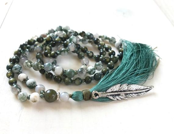Mother Of Pearl Mala Beads, Tree Agate Mala Necklace, Green Stone Mala, Feather Mala, 108 Bead Mala, Yoga Meditation Beads, Boho Chic Mala