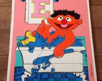 Vintage Sesame Street Puzzle, E for Ernie, 1979, Playskool Puzzle, Ernie Puzzle, Vintage Ernie, Rubber Ducky