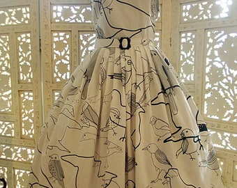 60s style novelty bird print white cotton sundress with black and grey outlined birds is newly made from a vintage 60's pattern. By Red Ruby