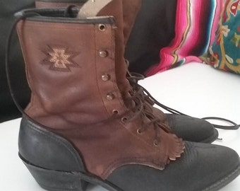 VINTAGE two toned Leather lace up justin STYLE BooTS with southwestern detail Was 69.00 now only 52.00  Mens SZ 8 Womens sz 9