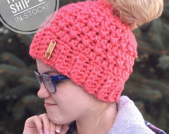 FREE SHIPPING on in stock Messy Bun Hats - Pony Tail Hat - Ponytail Beanie - Messy Mom Bun Hat - Messy Bun Beanie - Messy Pony Beanie