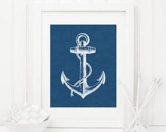 Anchor Printable Anchor Wall Art Nautical Decor Nautical Wall Art Navy Nursery Decor Boy Nursery Wall Art Beach Decor Blue Anchor Print