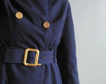 SALE vintage 60's double breasted trench coat in navy