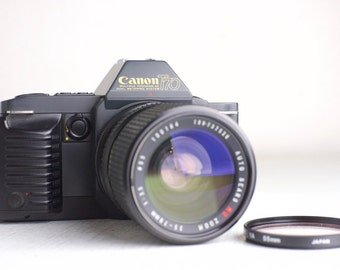 Canon T70 SLR 35mm Film Camera with Auto Sears MC 35-70mm Macro Focusing Zoom Lens - Fully Functional with Batteries