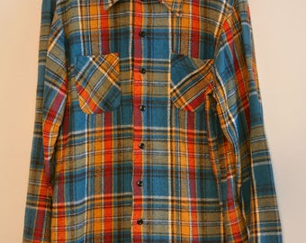 MENS Vintage Plaid Flannel Shirt