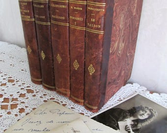 Stunning collection of vintage French books~Tooled leather spines & marbled boards~Absolutely wonderful display~Antique French novels