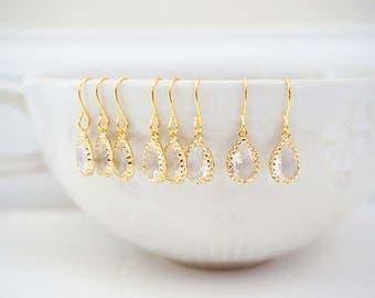 Dainty Crystal Gem Teardrop Earrings | Bridesmaid Earrings | Wedding Jewelry  ECG2, ECS2