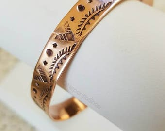 Tribal Stamped Copper Cuff Bracelet, Bohemian Cowgirl Cowboy, Western Wear, One of a Kind Jewelry, Metal Cuff, Boho Gypsy Hand Stamped