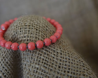 Coral Bracelet, Beaded Wrap Bracelet, Stacking Bracelet, Bangle Bracelet, Memory Wire Bracelet, Everyday Bracelet, Coral, Casual Bracelet
